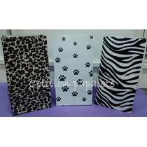 10 Bolsas Papel Animal Print Leopardo Cebra Huellas Animal
