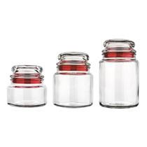 Conjunto De Potes De Vidro Multiuso 3 Pçs Vermelho - Euro Ho