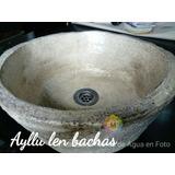 Bacha Piedra Ceramica Rustica Redonda Marron Embutir Apoyar
