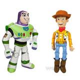 Kit 2 Pelucia Boneco Buzz Lightyear E Cowboy Wood Toy Story