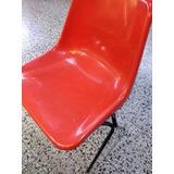 Silla Monocasco Pvc Plastico Naranja Base Caño - Selectogar