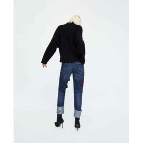 Jean Zara Mujer Con Bordados Talle 38 40