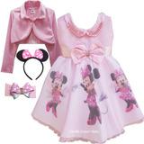 Vestido Infantil Festa Luxo Aniversário Minnie Rosa E Bolero