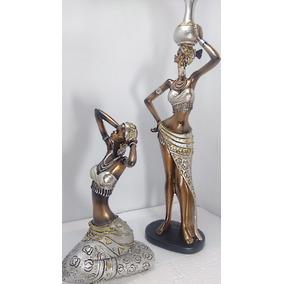 Dupla De Africanas Lindas Estatuetas Decoração Resina