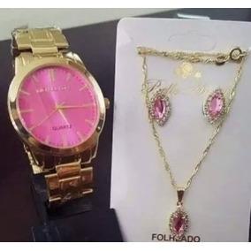 Relógio Feminino Dourad+kit Colar Brinco Foliado Fretes Grat