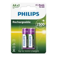 Pilha Recarregavel Philips Aa 2500 Com 2 Und Rtu Original Nf