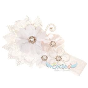 Tiara Con Perlas Niña Bautizo Valerina Elegante Diadema 01