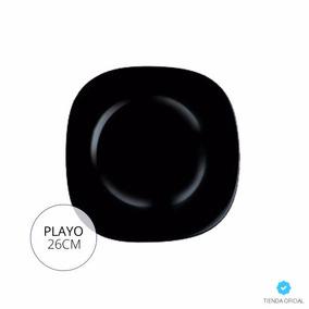 Plato Playo Luminarc Carine Negro 26cm Vidrio Templado