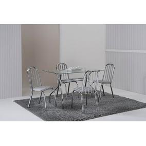 Conjunto De Mesa E 4 Cadeiras Tampo Em Vidro Temperado