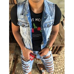 Colete Destroyed Rasgado Desfiado Masculino Jeans Coleteira