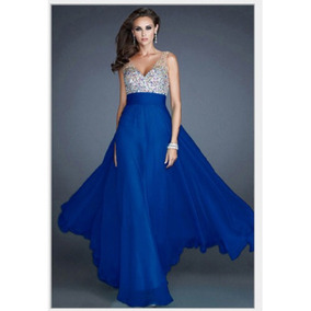 Vestido azul rey largo boda