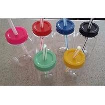 Tarros Vasos Tipomason Jar Plastico Con Popote Sin Estampado