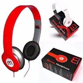 Fone De Ouvido Vermelho Headphone Mp3 Pc Universal Com Fio