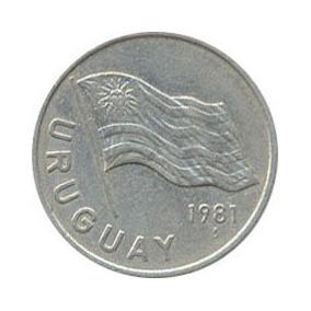 Moeda Antiga 5 Nuevos Pesos Uruguaios. Ano 1981.