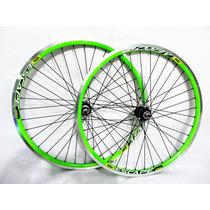 Rodas Aro 26 Aero Verde Neon Montados 36 Furos Bike Mtb