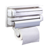 Suporte Porta Rolo Toalha Aluminio Filme Cozinha 3 X 1 Papel