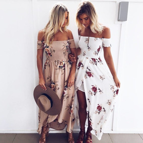 Lindo Vestido Longo Ombro Caído Florido Primavera Verão 2018