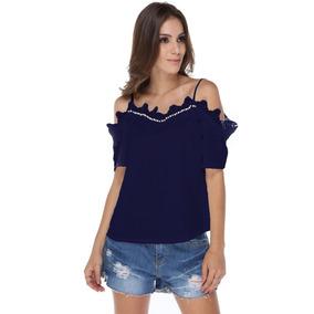 Camisa Blusa Ombro A Ombro Com Renda E Pérolas Moda 2018 Top
