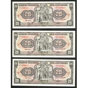 Ecuador 3 Billetes 20 Sucres 1988 P # 121aa Consecutivos S/c