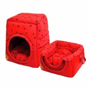 Cama Túnel Florence Para Cães Cachorros Toca M Vermelho