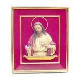 Antiguo Cuadro Con Figura Imágen De Jesús En Yeso