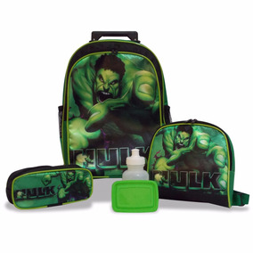 Kit Hulk Mochila Infantil Rodinhas + Lancheira + Estojo