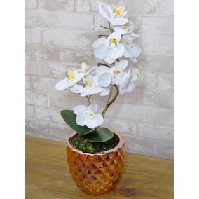 Flor - Vaso De Cerâmica Com Arranjo De Orquídea Artificial