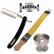 Kit Barbería Navaja De Corte Y Afeitar + Copón + Asentador