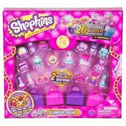 Set De 20 Figuras Shopkins Serie 5 Con Brillo + 4 Carteras