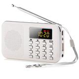 Mini Altavoz Radio Fm Portátil Lcd Digital Con Luz Led Blan