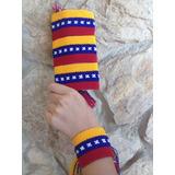 Oferta 3 Pulseras Wayuu Tricolor, Bandera Guajira, Macrame,