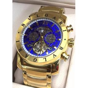 Relógio Masculino Dourado Azul Bullgari ( Bvlgari ) Original