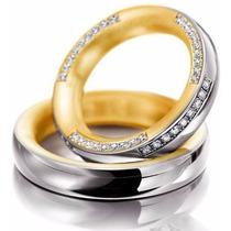 Par Alianças Ouro 18k Abaulada Polida 4mm 19gr 54 Diamantes
