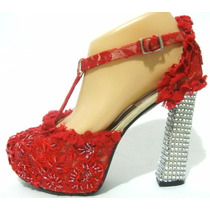 Veronica De La Canal Zapatos 36 Encaje Rojo Canutillo Strass