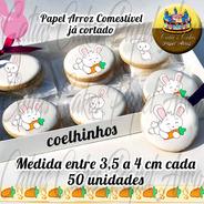 Coelho Páscoa Papel De Arroz Para Biscoito 50 Unidades