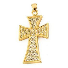Crucifixo Cravejado Com Zircônias Folherado/ouro - Semi-joia