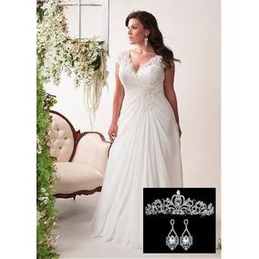Vestido De Noiva Plus Size P/ Gordinhas + Tiara E Brinco