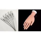 Mão Postiça Treino Manicure Dedo 10 Lixas Bananão 100/180