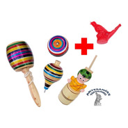 4 Pzas Juguetes Tradicionales Mexicanos De Madera Yoyo Tromp