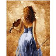 Pintura Numerada Mulher Com Violino Abstrato