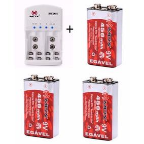 Kit Carregador Pilhas Mox + 4 Bateria Recarregável 450 Mah