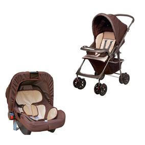 Carrinho De Bebê Hercules Topázio Com Bebê Conforto - Marrom