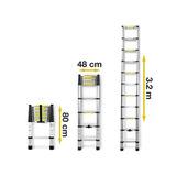 Escalera Telescopica De Aluminio 3,2 Metros