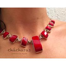 Envío Gratis Collar Maite Con Coral Natural Y Plata .925