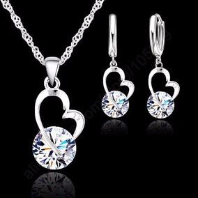 Juego Collar Y Aretes Plata Ley .925 Corazón Mujer Zirconia
