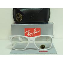 Armaçao De Oculos Grau Wayrayban Branco Lente Incolor