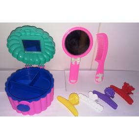 Kit P/ Boneca Barbie Espelho Pente Organizador Criança