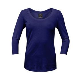 Camiseta Manga Larga Color Siete Para Mujer - Azul