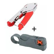 Kit Crimpeadora Prensa Coaxial + Pelador Cable Rg6