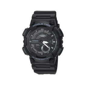 Reloj Casio Caballero Cronómetro Wr100m 3 Alarmas World Time